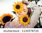 beautiful blonde woman portrait ... | Shutterstock . vector #1134578720