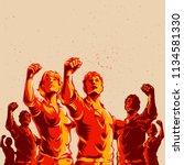 crowd protest fist revolution... | Shutterstock .eps vector #1134581330