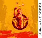 women protest fist revolution... | Shutterstock .eps vector #1134581333