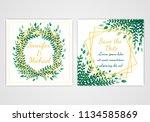 set of square wedding invite...   Shutterstock .eps vector #1134585869