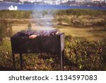 brazier  chargrill  full of hot ... | Shutterstock . vector #1134597083