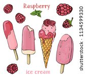 colorful raspberries and ice...   Shutterstock .eps vector #1134599330
