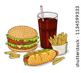 set of hand drawn fast food....   Shutterstock .eps vector #1134599333