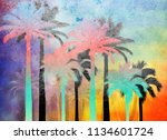 tropical palm grunge background ...   Shutterstock . vector #1134601724