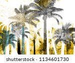 tropical palm grunge background ...   Shutterstock . vector #1134601730