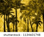 tropical palm grunge background ...   Shutterstock . vector #1134601748