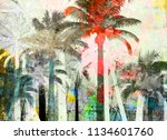 tropical palm grunge background ...   Shutterstock . vector #1134601760