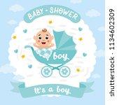 it's a boy  baby shower card.... | Shutterstock .eps vector #1134602309
