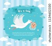 baby shower card. stork... | Shutterstock .eps vector #1134602330