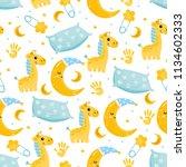 cute baby seamless pattern.... | Shutterstock .eps vector #1134602333