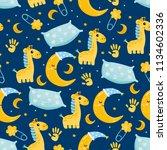 cute baby seamless pattern.... | Shutterstock .eps vector #1134602336