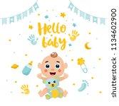 baby shower posters set. vector ... | Shutterstock .eps vector #1134602900