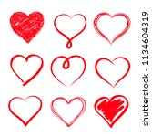set of hand drawn hearts.... | Shutterstock .eps vector #1134604319