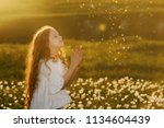 little girl with praying. peace ... | Shutterstock . vector #1134604439
