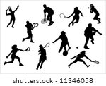 silhouette of athlete of tennis | Shutterstock . vector #11346058