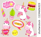set of cute unicorns in kawaii... | Shutterstock .eps vector #1134606323