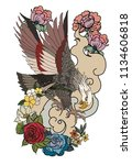 eagle flying tattoo.traditional ... | Shutterstock .eps vector #1134606818