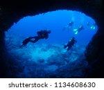 Scuba Divers Underwater Cave