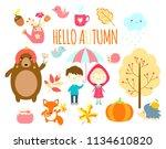 hello autumn. set of cute... | Shutterstock .eps vector #1134610820