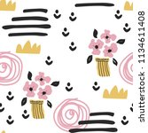 seamless pattern with cute... | Shutterstock . vector #1134611408