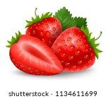 set of fresh ripe strawberry.... | Shutterstock .eps vector #1134611699