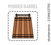 wooden barrel for beer  water... | Shutterstock .eps vector #1134613703