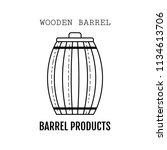 wooden barrel for beer  water... | Shutterstock .eps vector #1134613706