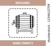 wooden barrel for beer  water... | Shutterstock .eps vector #1134613709