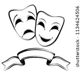 theatrical mask on a white... | Shutterstock . vector #1134624506