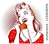Stock vector retro portrait of young attractive woman talking on phone 1134628496