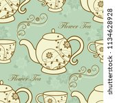 seamless pattern with teapots...   Shutterstock .eps vector #1134628928