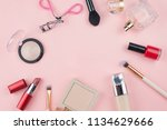 cosmetics and makeup brushes on ... | Shutterstock . vector #1134629666