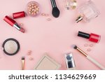 cosmetics and makeup brushes on ... | Shutterstock . vector #1134629669