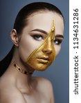creative grim makeup face of... | Shutterstock . vector #1134631286