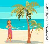 people on summer vacation. girl ...   Shutterstock .eps vector #1134636044