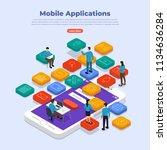 flat design concept of mobile... | Shutterstock .eps vector #1134636284