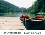 boats on lake. biogradsko... | Shutterstock . vector #1134637196