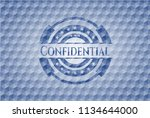 confidential blue badge with... | Shutterstock .eps vector #1134644000