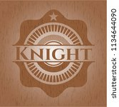 knight wooden emblem. vintage. | Shutterstock .eps vector #1134644090