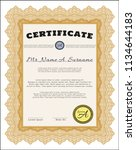orange certificate or diploma... | Shutterstock .eps vector #1134644183