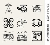 set of 9 transport outline... | Shutterstock . vector #1134644783