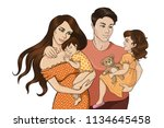 colorful happy family sketch 1   Shutterstock .eps vector #1134645458