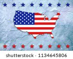 Usa Map Flag Colors On Stone...