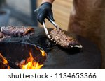 grilled pork baby ribs with... | Shutterstock . vector #1134653366