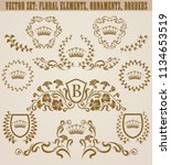 set of golden monograms with... | Shutterstock .eps vector #1134653519