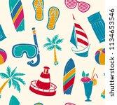 summer beach seamless pattern... | Shutterstock .eps vector #1134653546