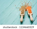 red and green lentils on blue... | Shutterstock . vector #1134660329
