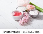 beauty and cosmetic creams with ...   Shutterstock . vector #1134662486