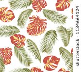 summer exotic floral tropical... | Shutterstock .eps vector #1134664124