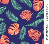 summer exotic floral tropical... | Shutterstock .eps vector #1134664148